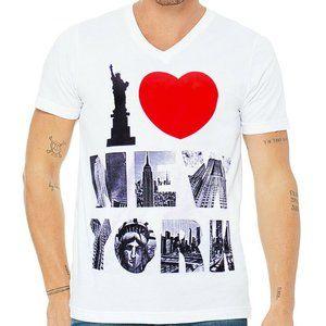 EXCHANGE MEN I LOVE NEW YORK WHITE V-NECK T-SHIRT
